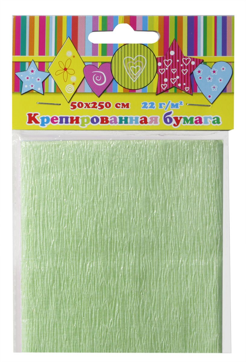 Феникс+ Бумага крепированная цвет зеленый перламутр 50 х 250 см28593Крепированная цветная бумага.Цвет: зеленый перламутровый.Крепированная бумага может использоваться для упаковки, поделок, декорирования и других видов творчества.1 лист.Размеры: 500х2500 мм.Материал: бумага.Упаковка: пластиковый пакет с подвесом.
