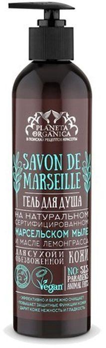 Planeta Organica Савон гель для душа для сухой и обезвоженной кожи Савон де Марсель, 400 мл0122Гель для душа на марсельском мыле Savon de Marseille Для сухой и обезвоженной кожи – продукт из серии Savon de Planeta Organica, созданный на основе натурального сертифицированного марсельского мыла и масла лемонграсса. Он эффективно и бережно очищает кожу, повышает ее собственные защитные функции, дарит коже нежность и гладкость.В состав этого геля для душа входят масло оливы и масло кедра. Оливковое масло глубоко питает и увлажняет кожу, смягчает и разглаживает ее. Масло кедра восстанавливает естественный баланс влажности кожи, является мощным экспресс-средством борьбы с шелушением кожи и огрубением. Кроме того, это масло повышает упругость и эластичность кожи, помогая продлить ее молодость.Гель также содержит масла лемонграсса и розмарина. Масло лемонграсса освежает и тонизирует кожу, способствует повышению ее эластичности. Масло розмарина, в свою очередь, помогает повысить упругость кожи, сузить поры, привести в норму выработку кожного сала, убрать воспаления и высыпания на коже, бороться с неровностями кожиГель для душа не содержит SLS, парабенов, продуктов животного происхождения, искусственных красителей и отдушек. Имеет международный сертификат Vegan. Не тестирован на животных.