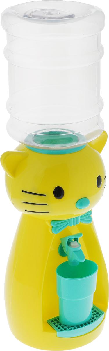 Мини-кулер для воды и сока HITT Мультик. Китти, цвет: желтый, бирюзовый, 2 лVT-1520(SR)Детский мини-кулер HITT Мультик. Китти выполнен из экологически чистого пластика. Изделие не греет и не охлаждает воду, поэтому вы можете не беспокоиться, что ребенок обожжется или простудит горло. Соки, компоты, отвары трав в этом кулере будут для малыша более привлекательны, чем лимонад и другие вредные для организма напитки. Кроха с удовольствием будет наливать напиток из кулера в небольшой стаканчик совсем как взрослый. Изделие легкое и компактное, поэтому его можно взять с собой на дачу или на пикник. Яркий дизайн, сочные цвета и веселый персонаж сделают такой кулер украшением стола на детском празднике.Ребенок станет потреблять больше жидкости. Вам не придется уговаривать его выпить молоко или компот.Стакан входит в комплект.Высота мини-кулера (с учетом бутылки): 49 см. Размер стаканчика: 6,5 х 5 х 8,5 см. Высота бутылки: 18 см.