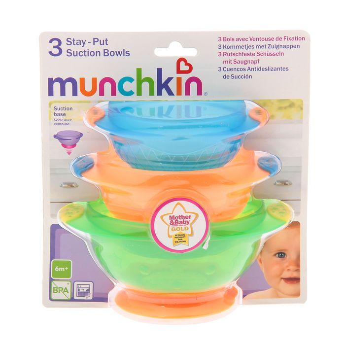 Набор детских тарелок Munchkin, на присосках, 3 шт11075Детские тарелки Munchkin, выполненные из безопасного пластика (не содержит бисфенол А), прекрасно подойдут для кормления малыша и самостоятельного приема им пищи. Тарелки снабжены присосками, которые прочно удерживают их на поверхности стола, благодаря чему они не упадут, еда не прольется, а ваш малыш будет доволен. Материал: пластик, резина. Размер большей тарелки: 15 см х 12 см х 6,5 см. Размер меньшей тарелки: 12 см х 10 см х 5,5 см. Размер упаковки: 17,5 см х 20 см х 13 см. Изготовитель: Китай. Кредо Munchkin, американской компании с 20-летней историей: избавить мир от надоевших и прозаических товаров, искать умные инновационные решения, которые превращает обыденные задачи в опыт, приносящий удовольствие. Понимая, что наибольшее значение в быту имеют именно мелочи, компания создает уникальные товары, которые помогают поддерживать порядок, организовывать пространство, облегчают уход за детьми - недаром компания имеет уже более 140 патентов и изобретений, используемых в создании ее неповторимой и оригинальной продукции. Munchkin делает жизнь родителей легче!