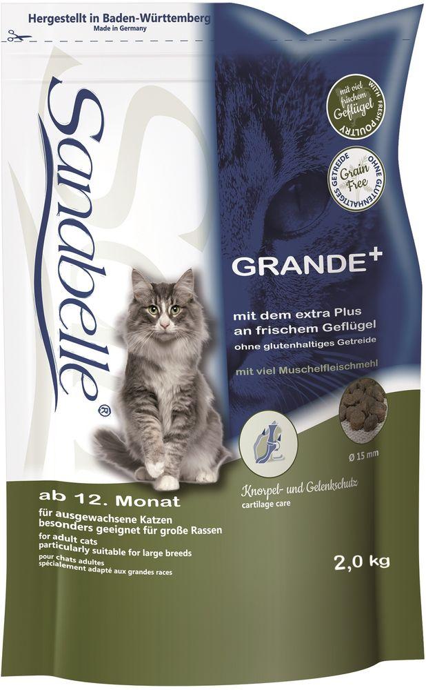 Корм сухой Sanabelle Grande для крупных кошек старше года и кошек гигантских пород, 2 кг57827Санабелль Гранде специально разработан для кошек крупных и гигантских пород, например, Мейн-кунов или Норвежских. Также этот рацион великолепно подойдет кошкам, которые стараются быстро заглатывать корм, поскольку специальный размер гранул не позволяет этого сделать. Только натуральные ингредиенты в супер премиум корме Bosch Sanabelle GrandeВ сухой корм для кошек Санабелль Гранде добавлены мука из мидий и экстракт новозеландского зеленогубчатого моллюска для правильного формирования и предотвращения заболеваний суставов, что особенно важно для крупных кошек.Пониженное содержание минералов (например, магния) в составе корма, снижает риск образования камней в почках. Другие компоненты уменьшают рН мочи. Комбинация из натуральных антиоксидантов и лесных ягод положительно действует на мочеполовую систему в целом. Экстракт Юкки способствует уменьшению запаха кала.Гармоничное сочетание таурина, жирных кислот (Омега 3, Омега 6) и цинка ( в легко усваиваемой форме хелатов) способствует сохранению эластичности кожи, придает блеск шерсти, сохраняет зрение и поддерживает естественную сопротивляемость организма. Использование растительных волокон и жиров уменьшает вероятность слипания попавшей в желудок шерсти и облегчает выход уже образовавшихся волосяных шаров Балластные вещества способствуют стабилизации кишечной флоры и правильной работе пищеварительной системы Особая форма и структура гранул, а также отборные растительные волокна оказывают очищающий эффект на зубы кошки. Полезные бактерии в совокупности с витаминами и фосфатами также положительно влияют на слизистую полости рта и зубную поверхность