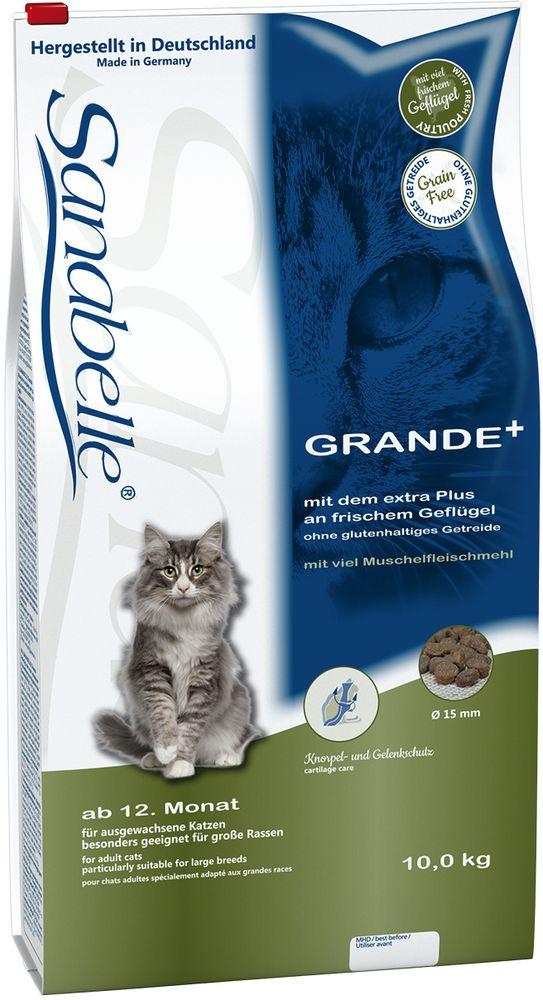 Корм сухой Sanabelle Grande для крупных кошек старше года и кошек гигантских пород, 10 кг57828Корм сухой Sanabelle Grande специально разработан для кошек крупных и гигантских пород, например, мейн-кунов или норвежских. Также этот рацион великолепно подойдет кошкам, которые стараются быстро заглатывать корм, поскольку специальный размер гранул не позволяет этого сделать.Только натуральные ингредиенты используются в супер премиум корме Sanabelle Grande. В сухой корм для кошек Санабелль Гранде добавлены мука из мидий и экстракт новозеландского зеленогубчатого моллюска для правильного формирования и предотвращения заболеваний суставов, что особенно важно для крупных кошек.Пониженное содержание минералов (например, магния) в составе корма, снижает риск образования камней в почках.Другие компоненты уменьшают рН мочи. Комбинация из натуральных антиоксидантов и лесных ягод положительно действует на мочеполовую систему в целом. Экстракт Юкки способствует уменьшению запаха кала. Гармоничное сочетание таурина, жирных кислот (Омега 3, Омега 6) и цинка ( в легко усваиваемой форме хелатов) способствует сохранению эластичности кожи, придает блеск шерсти, сохраняет зрение и поддерживает естественную сопротивляемость организма.Использование растительных волокон и жиров уменьшает вероятность слипания попавшей в желудок шерсти и облегчает выход уже образовавшихся волосяных шаров. Балластные вещества способствуют стабилизации кишечной флоры и правильной работе пищеварительной системы. Особая форма и структура гранул, а также отборные растительные волокна оказывают очищающий эффект на зубы кошки. Полезные бактерии в совокупности с витаминами и фосфатами также положительно влияют на слизистую полости рта и зубную поверхность. Состав: белок 31 %, жир 19,5 %, клетчатка 3,0 %, зола 6,0 %, кальций 1,15 %, фосфор 1,0 %, магний 0,07 %, влажность 10 %.Энергетическая ценность (ккал/100г): 406. Добавки (на 1кг корма): витамин A 25000 МЕ, витамин D3 1500 МЕ, витамин E 600 мг, таурин 2000 мг, медь 
