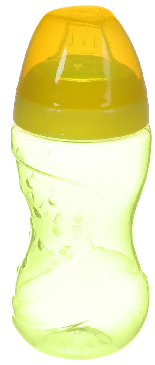 Lubby Поильник-непроливайка Спорт с мягким носиком от 6 месяцев цвет светло-зеленый желтый 230 мл -  Поильники