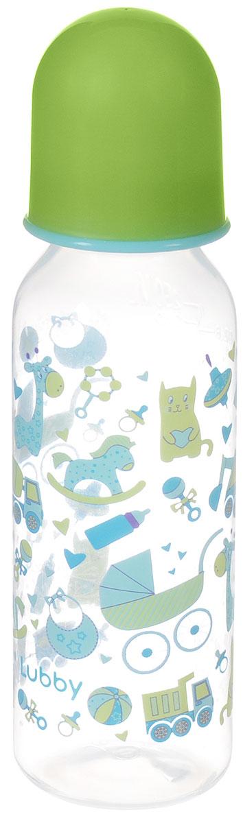 Lubby Бутылочка для кормления с силиконовой соской Малыши и малышки от 0 месяцев цвет зеленый 250 мл