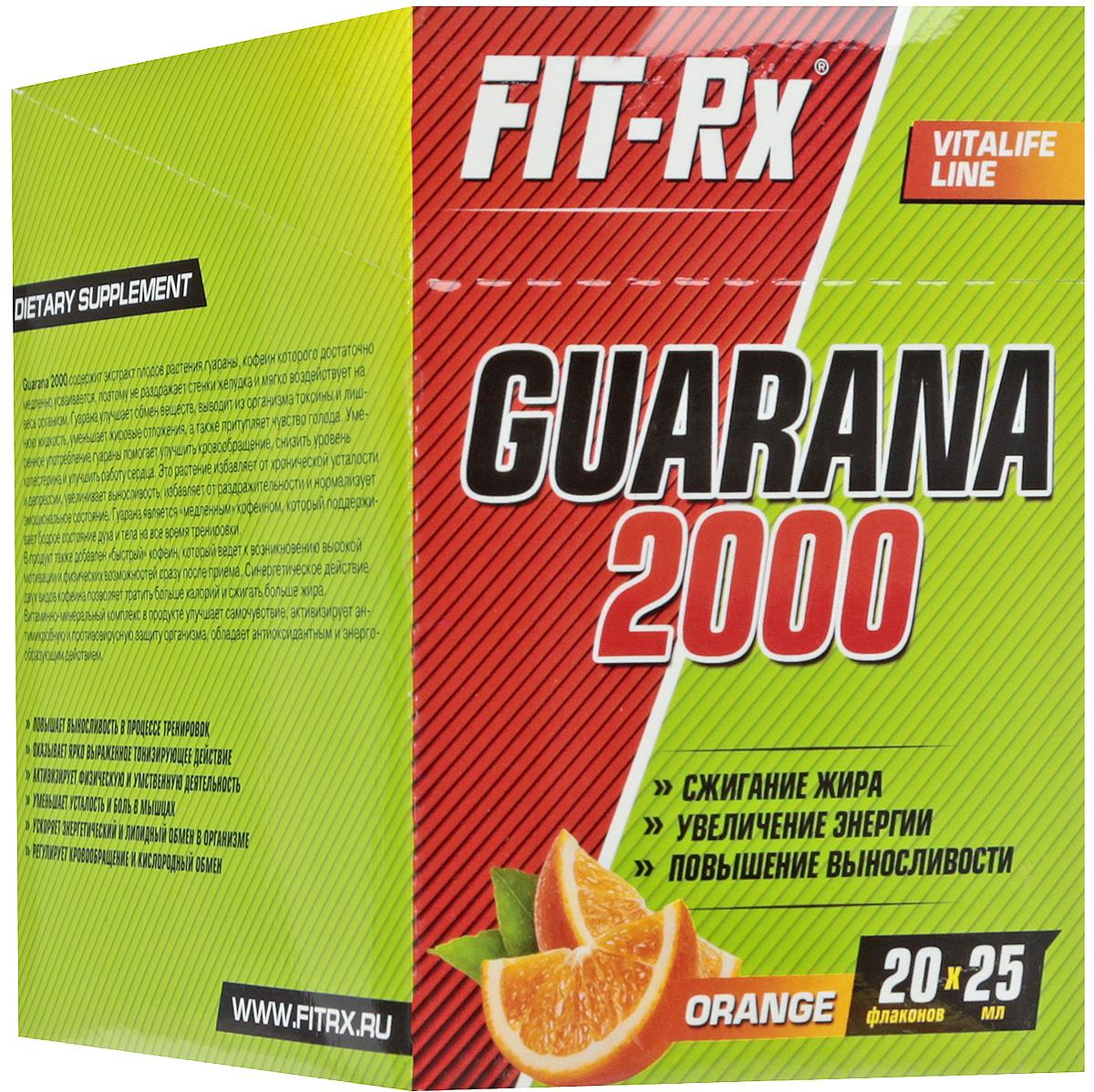 Энергетический напиток FIT-Rx Guarana 2000, апельсин, 20 шт х 25 млRUC-01Энергетический напиток FIT-Rx Guarana 2000 содержит экстракт плодов растения гуараны, кофеин которого достаточно медленно усваивается, поэтому не раздражает стенки желудка и мягко воздействует на весь организм. Гуарана улучшает обмен веществ, выводит из организма токсины и лишнюю жидкость, уменьшает жировые отложения, а также притупляет чувство голода. Умеренное употребление гуараны помогает улучшить кровообращение, снизить уровень холестерина и улучшить работу сердца. Это растение избавляет от хронической усталости и депрессии, увеличивает выносливость, избавляет от раздражительности и нормализует эмоциональное состояние. Гуарана является медленным кофеином, который поддерживает бодрое состояние духа и тела на все время тренировки.В продукт также добавлен быстрый кофеин, который ведет к возникновению высокой мотивации и физических возможностей сразу после приема. Синергетическое действие двух видов кофеина позволяет тратить больше калорий и сжигать больше жира.Витаминно-минеральный комплекс в продукте улучшает самочувствие, активизирует антимикробную и противовирусную защиту организма, обладает антиоксидантным и энергообразующим действием.Состав: вода подготовленная, вкусо-ароматическая основа Гуарана (вода, регулятор кислотности лимонная кислота, краситель сахарный колер IV, кофеин, экстракт гуараны, антиокислитель аскорбиновая кислота, консервант бензоат натрия, инвертный сироп), ароматизатор Апельсин, комплексная пищевая добавка Thixogum S (смола акации, загуститель ксантановая камедь), подсластитель сукралоза, витаминный премикс (витамин С, витамин В1, витамин В2, витамин В12, фолиевая кислота, биотин).Пищевая ценность 1 порции (1 флакон): экстракт гуараны - 2000 мг, кофеин 200 мг, витамин С - 5,3 мг, витамин Е - 1,3 мг, витамин - В1 - 0,18 мг, витамин В2 - 0,17 мг, витамин В6 - 0,23 мг, витамин В12 - 0,10 мкг, фолиевая кислота - 35,2 мкг, биотин - 13,2 мкг, ниацин - 1,57 мг, пантотеновая 