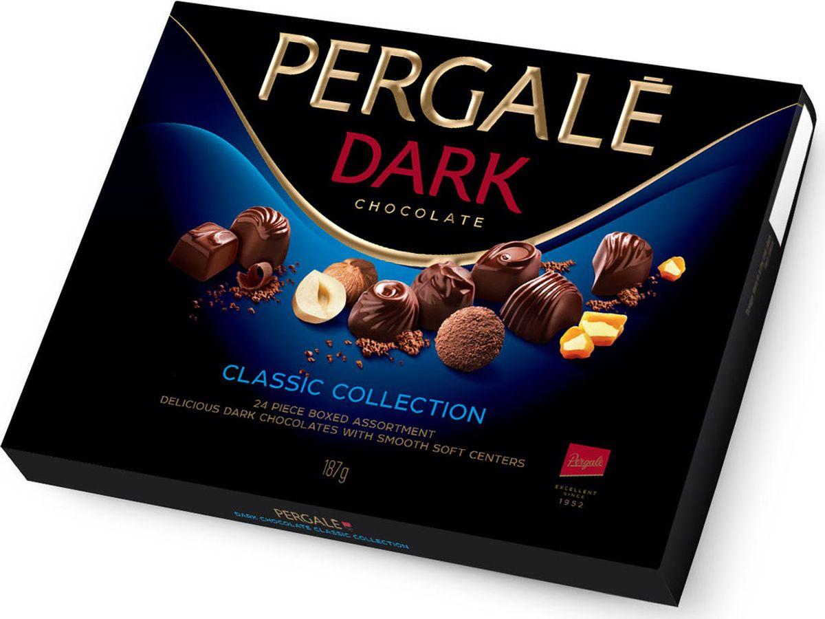 Pergale из темного шоколада набор конфет ассорти, 187 г10646Лидирующая фабрика стран Балтии, кондитерские изделия которой славятся своим качеством и оригинальными рецептами вот уже более 60 лет. Внутри элегантной упаковки находятся шоколадные конфеты с различными нежными начинками, которые позволят насладиться невероятным вкусом конфет.