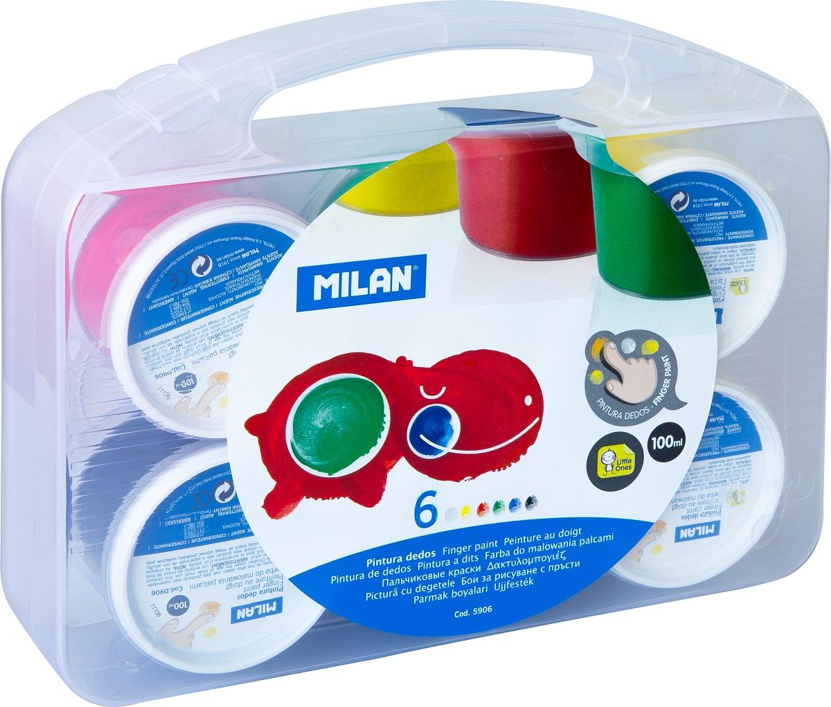 Milan Краска пальчиковая 6 цветов32306Пальчиковыми красками можно рисовать на бумаге и картоне, пальцами и ладошками, а также специальной кисточкой и спонжиками.В процессе рисования пальчиковыми красками ребенок научится различать и смешивать цвета, разовьет мелкую моторику и чувство осязания. Ребенок может рисовать мазки разной яркости, в зависимости от силы нажатия пальцев.Рисование пальчиковыми красками способствует раннему развитию творческих способностей.В упаковке краска шести цветов.