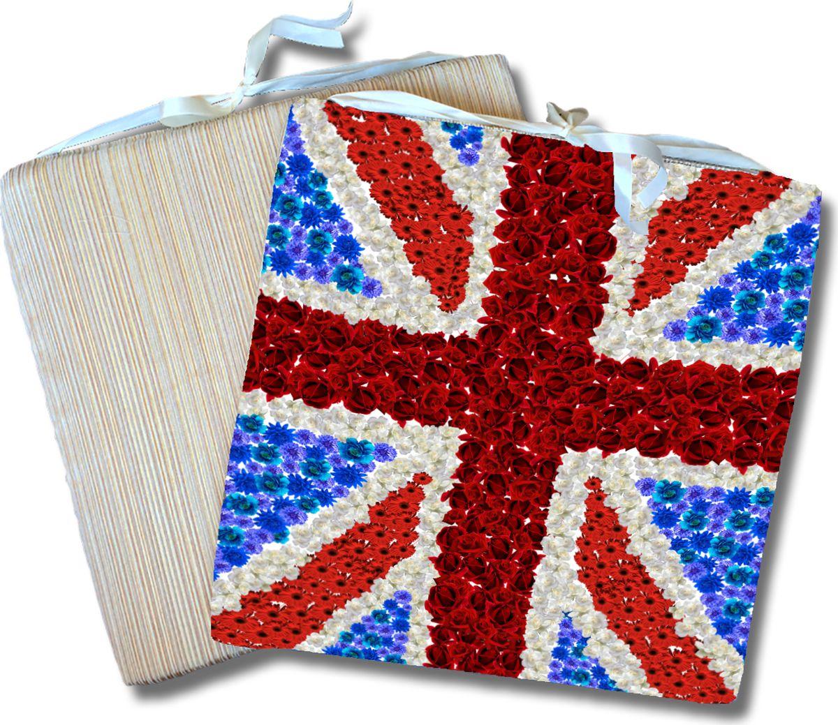 Подушка на стул GiftnHome Британский флаг, 40 х 40 х 2 см02-V305/1Сидушка декоративная Винтажный Париж, материал: атлас, наполнитель поролон
