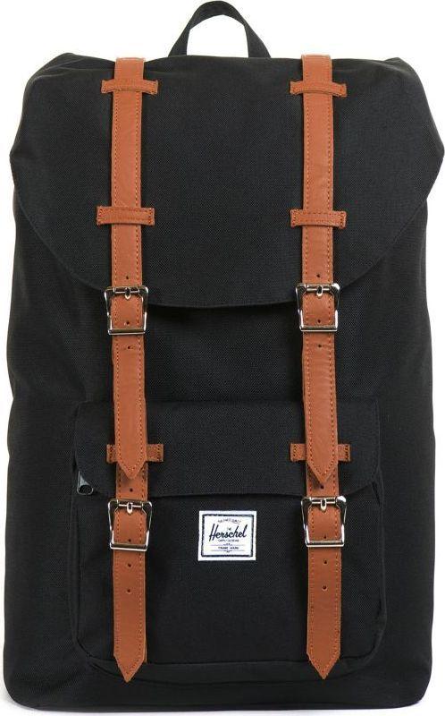 Рюкзак городской Herschel America Mid-Volume, цвет: черный, светло-коричневый, 17 л. 10020-00001-OSУТ-000052601Уменьшенная копия легендарного рюкзакаLittle America - идеальный городской рюкзак, который отлично подойдет для учебы, работы или небольших путешествий. Удобный, практичный, стильный - все выполнено в лучших традициях качества Herschel!