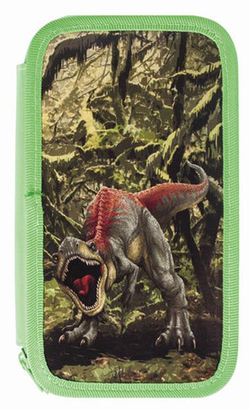 Brauberg Пенал Динозавр104365Пенал Brauberg предназначен для детей 7-10 лет. Изготовлен из ламинированного картона, имеет 2 отделения, которые закрываются на застежки-молнии. Яркий оригинальный принт придется школьникам по душе.Поставляется без наполнения.