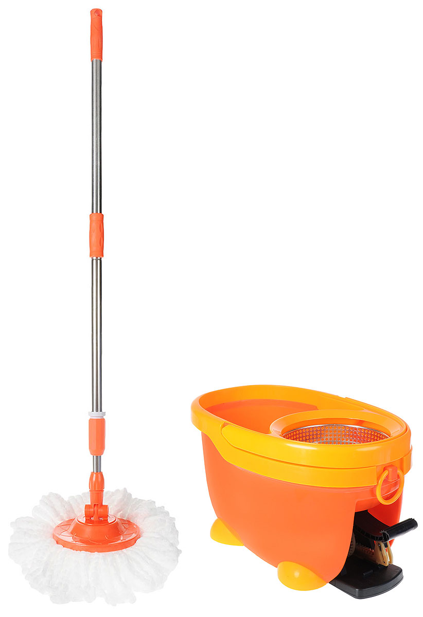 Набор для уборки Monya Tornado Lux, цвет: оранжевый, 4 предмета. MS 04VCA-00Комплект для уборки Monya Tornado Lux отличный вариант для быстрой и качественной уборки не пачкая рук.Без дополнительных усилий вы легко очистите все виды напольных покрытий, а также потолок, стены и окна.Преимущества комплекта:-Уникальный механизм ведра позволит быстро прополоскать швабру без дополнительной помощи рук. Просто опустите швабру в воду, прополощите в ней насадку.-Механизм отжима, благодаря эффекту центрифуги, быстро избавит насадку из микрофибры от лишней влаги. Чтобы отжать насадку из микрофибры, опустите в чашу для отжима и легким движением нажмите на педаль. -Ручка швабры металлическая. Телескопической конструкции позволяет регулировать длину на нужный вам размер.-Вращение насадки на 360 градусов позволяет легко убрать пыль в труднодоступных местах.-Моющая часть насадки сделана из качественной микрофибры, которая хорошо впитывает влагу и притягивает пыль.В комплект входит швабра, ведро и 2 насадки для швабры.Размер ведра по верхнему краю: 47 х 29 см.Высота ведра: 27 см.Размер корзины для отжима: 18 х 18 х 12 см.Длина черенка: 97-122 см.Длина волокон насадки: 12 см.Диаметр насадки: 33 см.