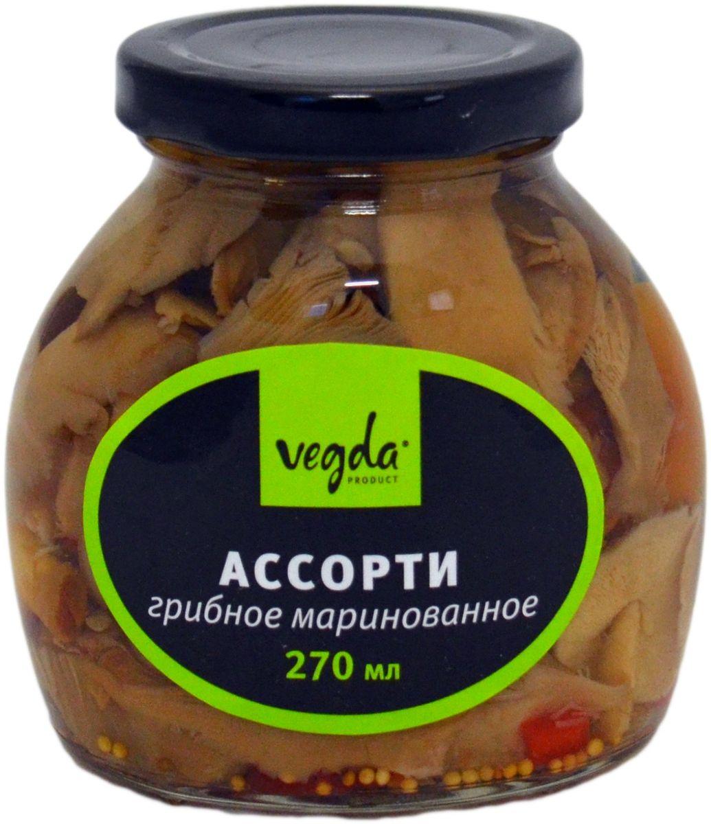 Vegda ассорти грибное маринованное, 270 мл4607045600101Продукт изготовлен из высококачественных ингредиентов, по современным технологиям