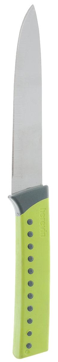 Нож для овощей Herevin, цвет: салатовый, длина 22 см. 361204-000361204-000_салатовыйНож для овощей Heverin станет практичным приобретением для кухни. Лезвие ножа выполнено из нержавеющей стали и имеет серрейторную заточку, которая позволяет легко нарезать овощи и фрукты с мягкой сердцевиной, например, помидоры, а также хлеб. Рукоятка выполнена из пластика с приятным на ощупь прорезиненным покрытием. Эргономичный дизайн обеспечивает надежный хват и комфорт во время резки. Длина ножа: 22 см.Длина лезвия: 12,5 см