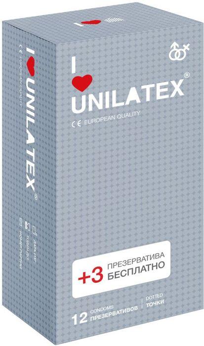 Презервативы Unilatex Dotted, 12 шт. + 3 шт. в подарокRef.3020Презервативы из натурального латекса телесного цвета, c точечной поверхностью, покрыты силиконовой смазкой с нейтральным ароматом.