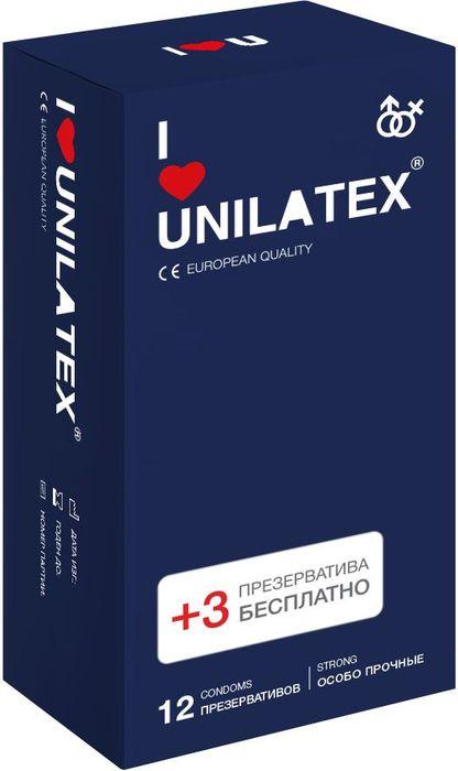 Презервативы Unilatex Extra Strong, 12 шт. + 3 шт. в подарокRef.3022Особопрочные презервативы из натурального латекса телесного цвета, c гладкой поверхностью, покрыты силиконовой смазкой с нейтральным ароматом.