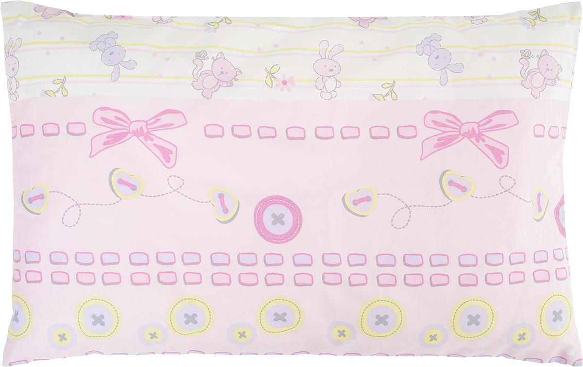 Сонный гномик Подушка детская Заяц и кот цвет розовый 60 х 40555Х_розовыйДетская подушка Сонный гномик Заяц и кот изготовлена из бязи - 100% хлопка и создана для комфортного сна вашего малыша.Гипоаллергенные ткани - это залог спокойствия, здорового сна малыша и его безопасности. Наполнитель из синтепона (100% полиэстер) позволит коже ребенка дышать, создавая естественную вентиляцию. Мягкий и воздушный, он будет правильно поддерживать головку ребенка во время сна. Ткань наволочки - нежная и одновременно износостойкая - прослужит вам долгие годы.Уход: не гладить, только ручная стирка, нельзя отбеливать, нельзя выжимать и сушить в стиральной машине, химчистка запрещена.