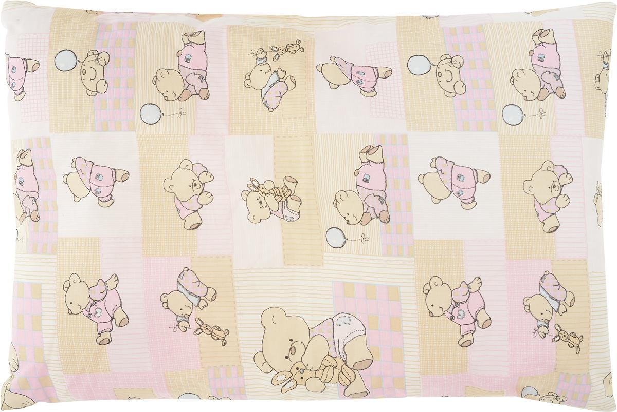 Сонный гномик Подушка детская Мишки цвет розовый бежевый 60 х 40 см10503Детская подушка Сонный гномик изготовлена из бязи - 100% хлопка и создана для комфортного сна вашего малыша.Гипоаллергенные ткани - это залог спокойствия, здорового сна малыша и его безопасности. Наполнитель (40% бамбук, 60% полиэстер) позволит коже ребенка дышать, создавая естественную вентиляцию. Мягкий и воздушный, он будет правильно поддерживать головку ребенка во время сна. Ткань наволочки - нежная и одновременно износостойкая - прослужит вам долгие годы.Уход: не гладить, только ручная стирка, нельзя отбеливать, нельзя выжимать и сушить в стиральной машине, химчистка запрещена.