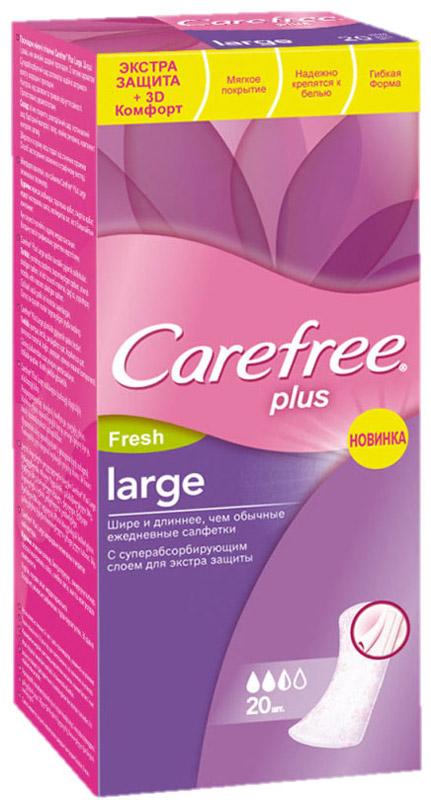 Carefree Plus Ежедневные прокладки Large Fresh, ароматизированные, 20 шт30989/80775Сохраняйте ощущение чистоты и свежести каждый день с новыми улучшенными прокладками Carefree Plus Large Fresh. Почувствуйте еще больше защиты и сохраните свежесть дольше, чем обычно. Легкий свежий аромат. Шире и длиннее, чем обычные ежедневные прокладки. Суперабсорбирующий слой надежно удерживает влагу внутри. Предотвращают появление запах до 12 часов.Самая длительная защита от Carefree. Новые, улучшенные ежедневные прокладки! Теперь впитывают еще быстрее!Протестированы дерматологами.Товар сертифицирован.