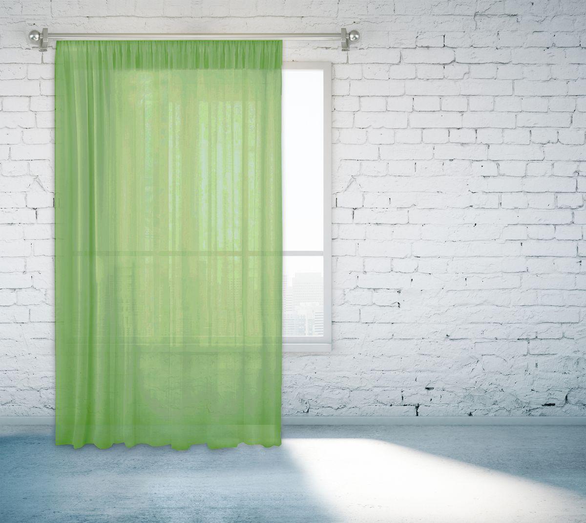 Тюль Zlata Korunka, на ленте, цвет: зеленый, высота 260 смP308-8761/1Тюлевое однотонное полотно из вуали, ширина 150 см. высота 260 см. Крепление на шторной ленте.