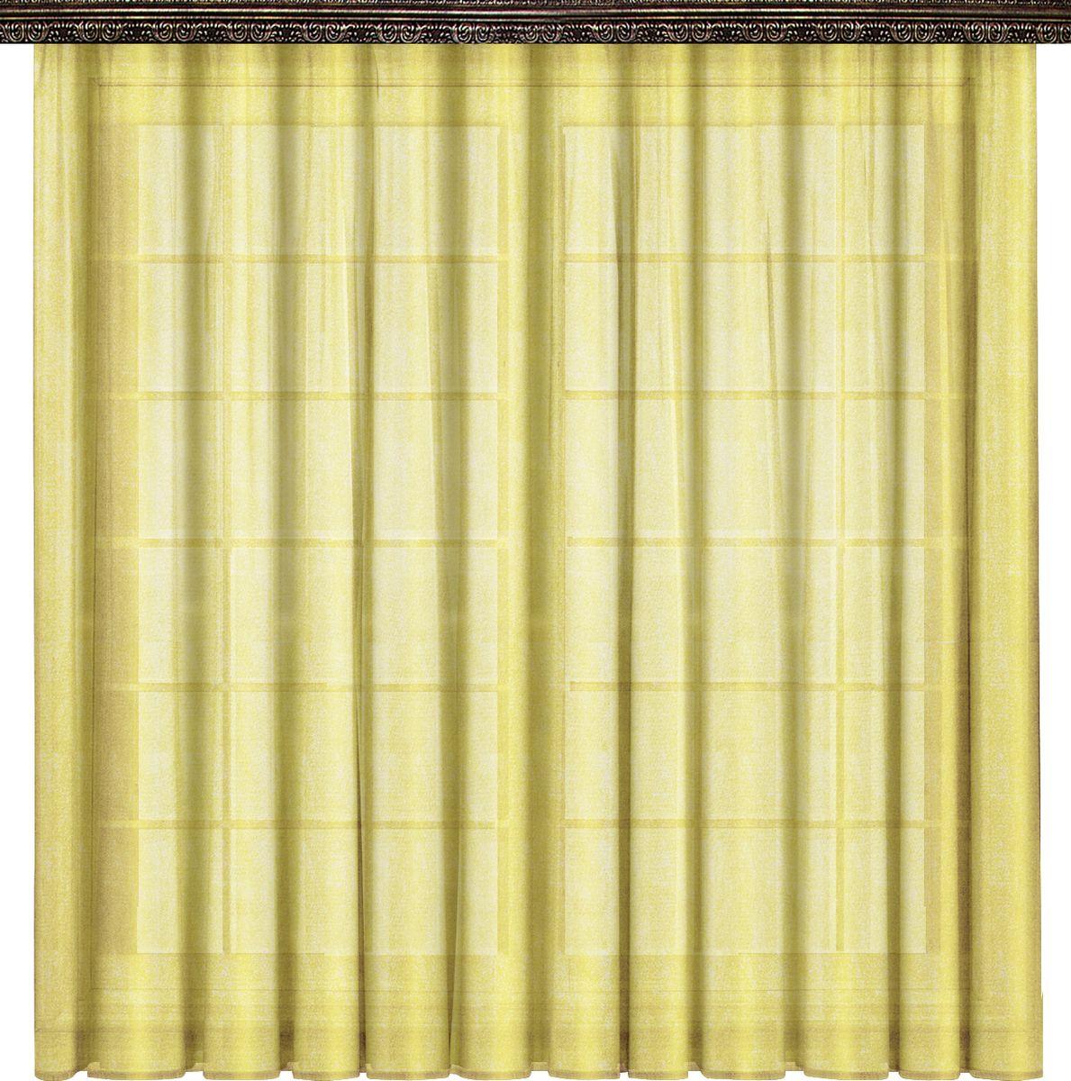 Тюль Zlata Korunka, на ленте, цвет: желтый, высота 270 смP608-7815/1Тюлевое полотно Органза  ширина 300см. Высота 270 см. Крепление на шторной ленте.