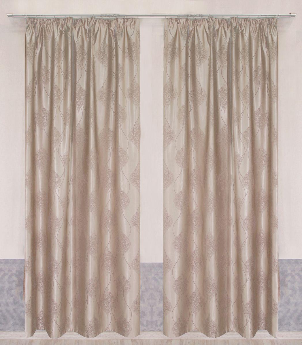 Комплект штор Zlata Korunka, на ленте, цвет: како с молоком, высота 265 смP608-7220/1Комплект штор: две портьеры шириной 160см. высотой 265 см. + два подхвата, крепление шторная лента.