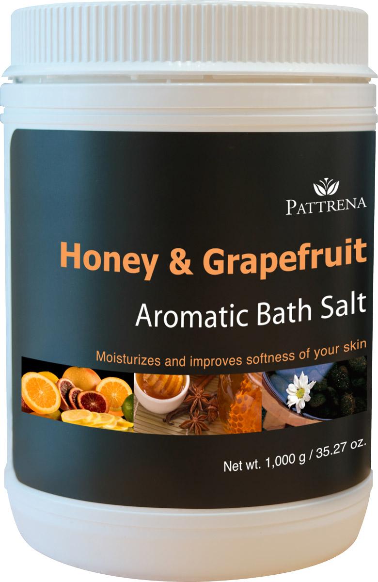 Pattrena Соль для ванны ароматная Мёд и Грейпфрут, 1000 гSPh1763Соль для ванны Pattrena с натуральными питательными ингредиентами – экстракт плодов Грейпфрута, мед. Мягко очищает кожу, одновременно питая ее, сохраняя влагу, делая мягкой и эластичной. Обладает утонченным теплым ароматом сочетания Меда и Грейпфрута, придает ощущение свежести и расслабленности.