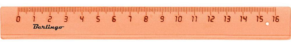Berlingo Линейка цвет прозрачный оранжевый 16 см0703415Линейка Berlingo выполнена из полупрозрачного пластика. Длина линейки - 16 см.Линейка - это незаменимый атрибут, необходимый школьнику или студенту, упрощающий измерение и обеспечивающий ровность проводимых линий. Края линейки закруглены для безопасного использования.