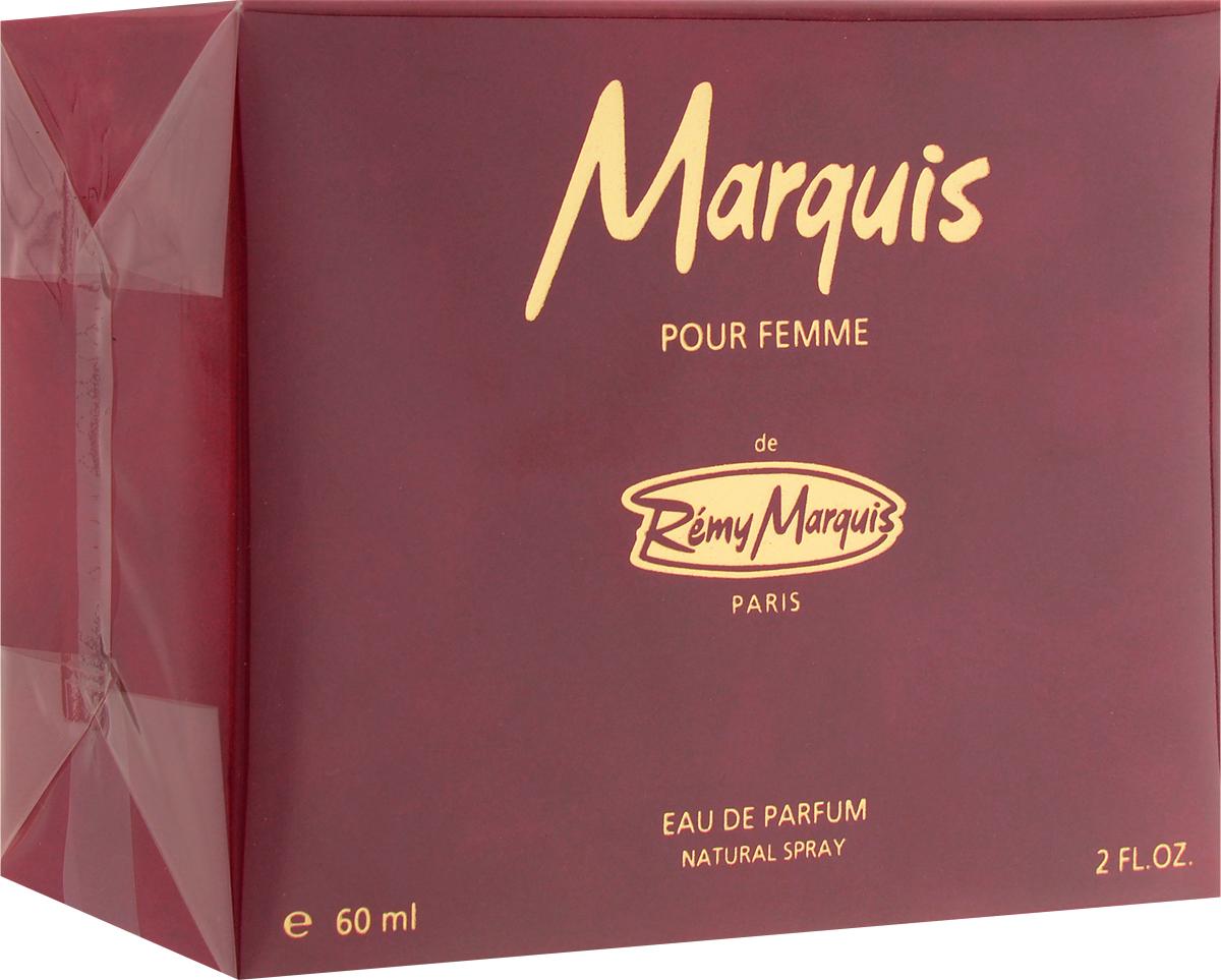 Remi Marquis Парфюмерная вода для женщин Marquis pour femme, 60 мл2218Аромат для женщины, способной стать объектом желания. Парфюм Remy Marquis Remy Woman вобрал в себя весь французский шик и очарование Парижа. Благородный аромат, древесный, амбровый, аромат с нотами хвои и сандала. Аромат чарующей женственности, в котором нежные оттенки цветов апельсина, имбиря, жасмина и розы окутывают, смягчая страсть древесно-пряных нот.