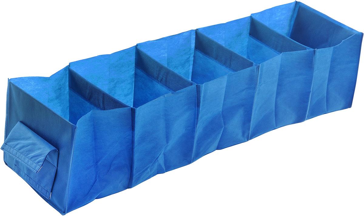 Кофр для хранения одежды Eva, 5 полок, цвет: синий, 28 х 28 х 120 смЕ-35_синийКофр Eva - идеальное решение для хранения одежды, обуви и аксессуаров. Кофр выполнен из прочного нетканого материала, а каркас - из плотного картона, благодаря чему изделие не деформируется и отлично сохраняет форму. Кофр имеет 5 полок. Подвешивается на перекладину, закрепляется с помощью липучек. Такой кофр поможет с легкостью организовать пространство в шкафу или гардеробе.