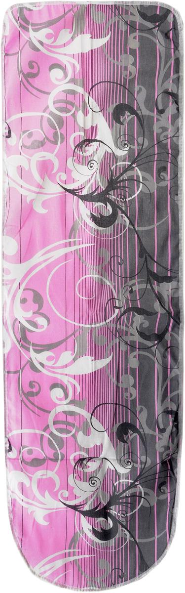 Чехол для гладильной доски Eva, цвет серый, белый, розовый, 125 х 47 смЕ13_серый, белый, розовыйЧехол для гладильной доски Eva, цвет серый, белый, розовый, 125 х 47 см