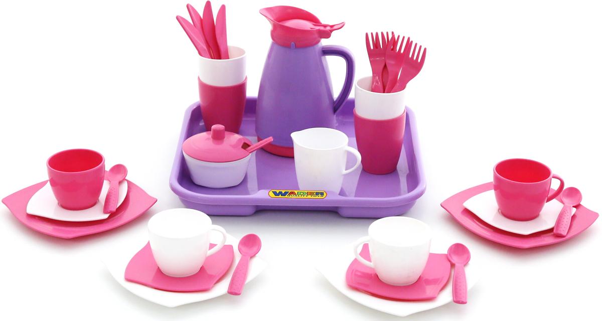 Полесье Набор игрушечной посуды Алиса Pretty Pink с подносом на 4 персоны