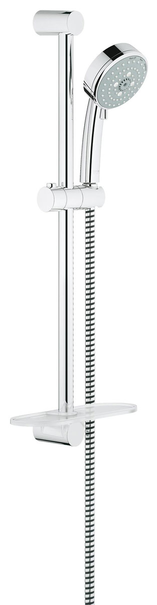 Душевой гарнитур с полочкой GROHE Tempesta Cosmopolitan (ручной душ, штанга 600 мм, шланг 1750 мм) (26083001)4005176940415Включает в себя: Ручной душ (26 082 001) Душевая штанга, 600 мм (27 521 000) Душевой шланг Relexaflex 1750 мм 1/2? x 1/2? (28 154 000) Полочка GROHE EasyReach™(27 596 000) GROHE DreamSpray превосходный поток воды GROHE StarLight хромированная поверхностьС системой SpeedClean против известковых отложений Внутренний охлаждающий канал для продолжительного срока службы Может использоваться с проточным водонагревателемВидео по установке является исключительно информационным. Установка должна проводиться профессионалами!