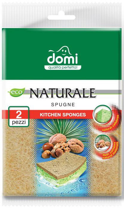 Губки для мытья посуды Domi Натуральная фибра, 2 шт7212 DIFibra Naturale (итал.) - натуральное волокно. Трущий слой губки (фибра) изготовлен с применением природных материалов (40%). Основа природных материалов - агава (сизаль) с добавлением измельченной скорлупы грецких орехов и фундука.
