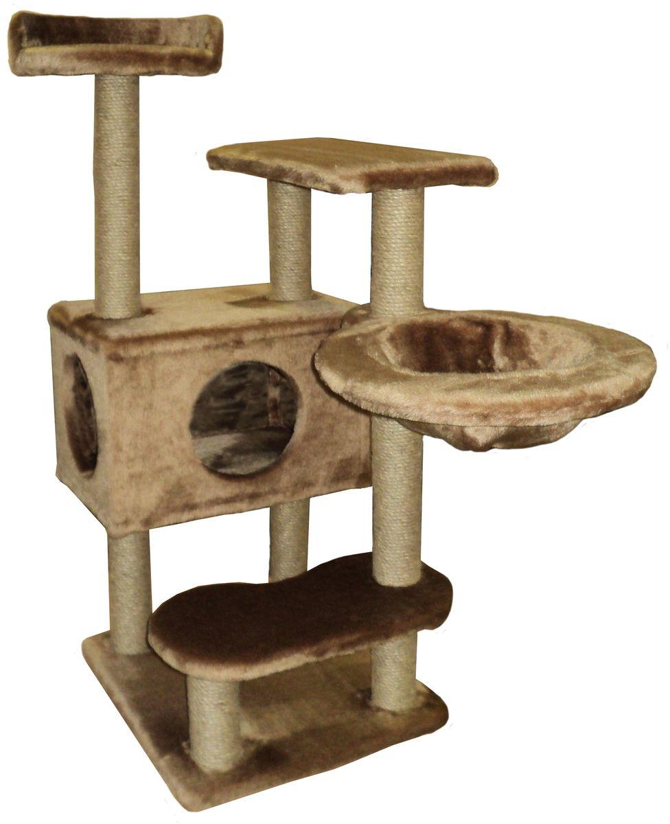 Игровой комплекс для кошек ЛапкинДом Барсик, с домиком, гамаком и когтеточкой, цвет: коричневый, 60 х 60 х 110 смБДКЧ5Игровой комплекс для кошек ЛапкинДом Барсик выполнен из высококачественного ДСП и обтянут искусственным мехом. Все горизонтальные полки под мехом, для большего комфорта питомца, проложены поролоном. Гамак выполнен из высококачественной толстостенной фанеры и выдерживает значительные нагрузки.Размер: 60 х 60 х 110 см