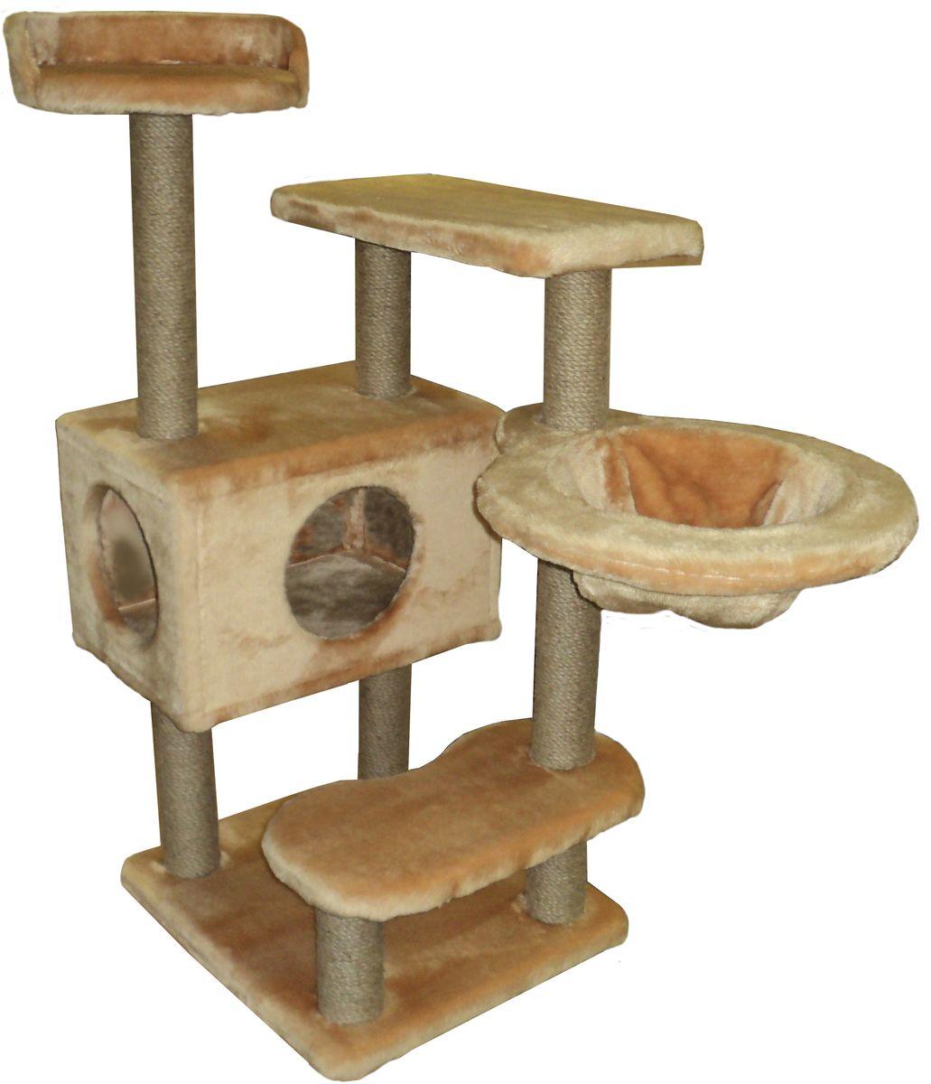 Игровой комплекс для кошек ЛапкинДом Барсик, с домиком, гамаком и когтеточкой, цвет: кремовый, 60 х 60 х 110 смБДКЕ4Игровой комплекс для кошек Барсик выполнен из высококачественного ДСП и обтянут искусственным мехом. Все горизонтальные полки под мехом, для большего комфорта питомца, проложены поролоном. Гамак выполнен из высококачественной толстостенной фанеры и выдерживает значительные нагрузки.
