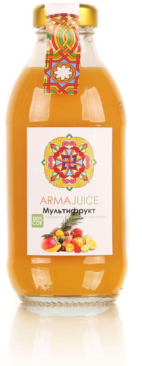 ARMAjuice сок мультифруктовый, 0,33 л4850001115632Восстановлен из концентрированного сока тропических фруктов. Состав: концентрированный сок апельсина 27%, мандарина 17%, ананаса 15%, манго 13%,банана 14%, остальные 19%, вода. Без ГМО. Без красителей, ароматизаторов и консервантов.