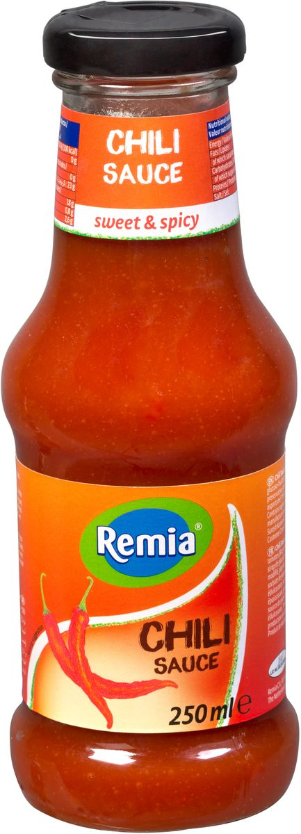 Remia Chili Sauce cоус острый чили, 0,25 л10.43.42Идеальный соус для повседневного использования, придаст пикантность чипсам, рыбе, барбекю, салатам.