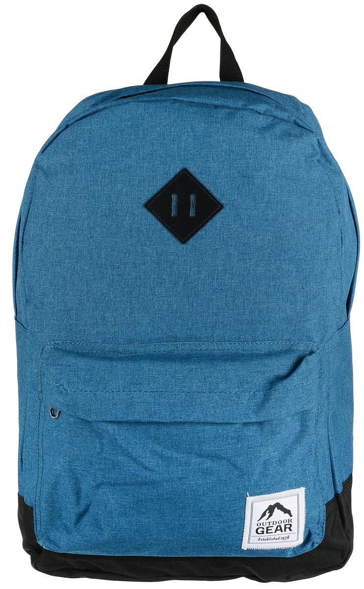 Рюкзак городской Outdoor Gear, цвет: бирюзовый, черный8113Стильный и удобный рюкзак изготовлен из качественного 100% полиэстера с водоотталкивающими свойствами. Рюкзак Outdoor Gear, в котором сочетается функциональность и эстетический внешний вид, имеет одно большое отделение с внутренним открытым карманом. С внешней стороны рюкзак оснащен накладным карманом на молнии. Укрепленные лямки с регулировкой и спинка добавят вам комфорта при использовании.