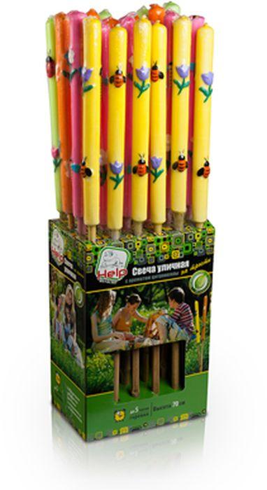 Свеча уличная HELP, от комаров, на трости, 70 см80010Предназначение:ароматизированная свеча на трости - эффективное средство для отпугивания комаров на открытом воздухе. Аромат цитронеллы создает защитный барьер от летающих насекомых в радиусе нескольких метров вокруг свечи. Идеальное решение для дачи и пикника.
