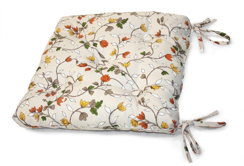 Подушка на стул KauffOrt Лора, 40 х 40 см3112020630Комплектация: 1 подушка, на завязках (наполнитель: холлофайбер). Материал: лонета. Состав: 80% хлопок, 20% полиэстер. Цвет: мультиколор. Применение: кухня, дача, гостиная.