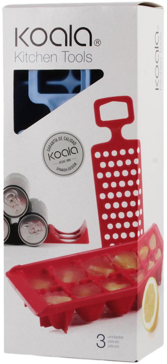 Набор для вечеринок Koala Kitchen Tools, цвет: синий, 3 предмета6345AA01Kitchen Tools от Koala - это готовый набор для домашнего использования, который поможет подготовить лед, натереть цитрусовые для коктейлей и фиксировать бутылки и банки с напитками в горизонтальном положении. В набор входят: лоток для льда, бутылкодержатель, терка для цитрусовых.Особенности набора:- Держатель надежно фиксирует металлические банки и стеклянные бутылки.- Края прорезей терки не повредят пальцы, но качественно измельчат мякоть цитрусовых.- Лоток для льда адаптирован для низких температур морозильника.- На дне лотка имеются ребра для устойчивости.Набор для вечеринок Kitchen Tools - неотъемлемая часть домашнего бара! Поставляется в подарочной упаковке.