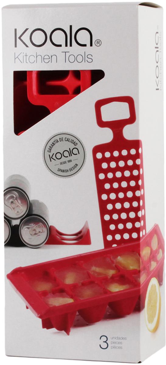 Набор для вечеринок Koala Kitchen Tools, цвет: красный, 3 предмета6345RR01Kitchen Tools от Koala - это готовый набор для домашнего использования, который поможет подготовить лед, натереть цитрусовые для коктейлей и фиксировать бутылки и банки с напитками в горизонтальном положении. В набор входят: лоток для льда, бутылкодержатель, терка для цитрусовых.Особенности набора:- Держатель надежно фиксирует металлические банки и стеклянные бутылки.- Края прорезей терки не повредят пальцы, но качественно измельчат мякоть цитрусовых.- Лоток для льда адаптирован для низких температур морозильника.- На дне лотка имеются ребра для устойчивости.Набор для вечеринок Kitchen Tools - неотъемлемая часть домашнего бара! Поставляется в подарочной упаковке.