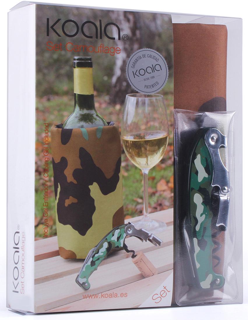 Набор для вина Koala Camouflage, цвет: оливковый, 2 предмета64410000Набор для вина Camouflage от испанского бренда Koala выполнен в эксклюзивном стиле милитари. В набор входят: штопор Retro, охладительная рубашка для вина. Особенности штопора Retro:- Выполнен из качественной нержавеющей стали.- Открывает различные бутылки, качественно срезает фольг.у- Повреждения рук исключены, благодаря храповому механизму двойного рычага с 7 позициями.- Два рычага умной головки обеспечивают быстрое и простое открывание бутылок.- Легкий, простой и комфортный в эксплуатации.Особенности охладительной рубашки:- Съемный гелевый слой внутри позволяет охладить сосуд за 60 минут.- Оптимальный размер для стандартных бутылок.- Антискользящий ремень на дне удерживает бутылку от выскальзывания.Информацию по рекомендуемым температурам охлаждения вин вы можете найти на упаковке товара Набор Koala Camouflage представлен в фирменной упаковке и отлично подойдет в качестве подарка. Произведен в Испании.