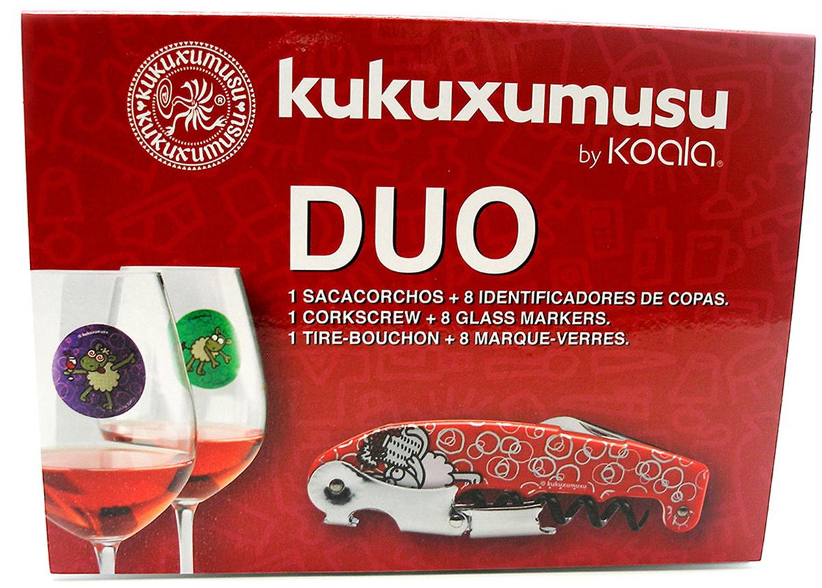 Набор для вина Koala Kukuxumusu, 9 предметов63100000Оригинальный набор Kukuxumusu от испанского бренда Koala дополнен изображениями в виде забавных овечек. В набор входят: штопор Retro, 8 электростатических разноцветных маркеров. Штопор Retro:- Поможет быстро и легко срезать фольгу с горлышка и открыть бутылку.- Запатентованный механизм двойного рычага с 7 позициями способствует комфортному открыванию.- Умная головка с 2-рычажной системой позволяет извлечь пробку двумя движениям.и- Нож для резки фольги с зубцами удобен в эксплуатации.- Выполнен из качественной нержавеющей стали.- Быстро и легко складывается. Электростатические маркеры:- Изготовлены из технологичного материала, за счет чего плотно прилегают к стеклу.- Позволяют идентифицировать бокалы.- Выполнены в красном, зеленом, синем, черном, желтом, фиолетовом, сером, оранжевом оттенках с изображением веселых овечек.Набор для вина Kukuxumusu - оптимальное предложение для домашнего использования и отличный подарок жизнерадостным любителям вина!Поставляется в презентабельной фирменной упаковке.