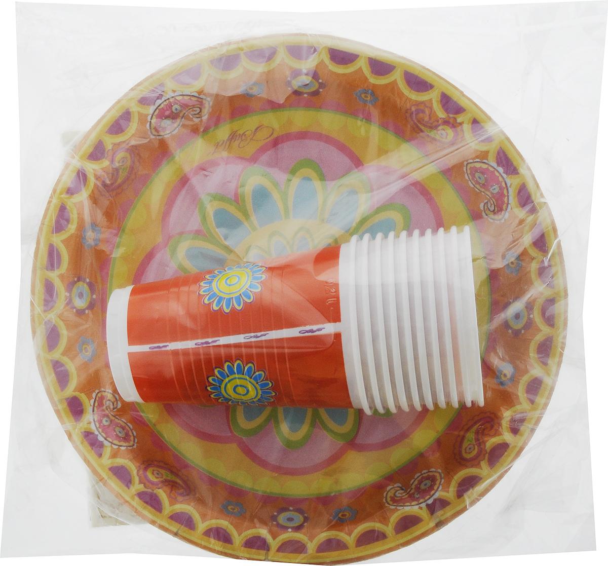 Набор одноразовой посуды Мистерия Стандарт, цвет: желтый, оранжевый, розовый, 40 предметовFA-5126-2 WhiteНабор одноразовой посуды Мистерия Стандарт на 10 персон включает 10 тарелок, 10 стаканов и 20 салфеток. Посуда предназначена для холодных и горячих (до +70°С) пищевых продуктов и напитков. Стаканы выполнены из прочного полипропилена, а тарелки - из ламинированного картона. В комплекте также имеются трехслойные бумажные салфетки. Все предметы набора дополнены ярким красочным рисунком. Такой набор посуды отлично подойдет для отдыха на природе, пикников, а также детских праздников. В нем есть все необходимое. Он легкий и не занимает много места, а самое главное - после использования его не надо мыть. Объем стакана: 200 мл. Диаметр стакана (по верхнему краю): 7 см. Высота стакана: 10 см. Диаметр тарелки: 23 см. Размер салфетки: 33 х 33 см.