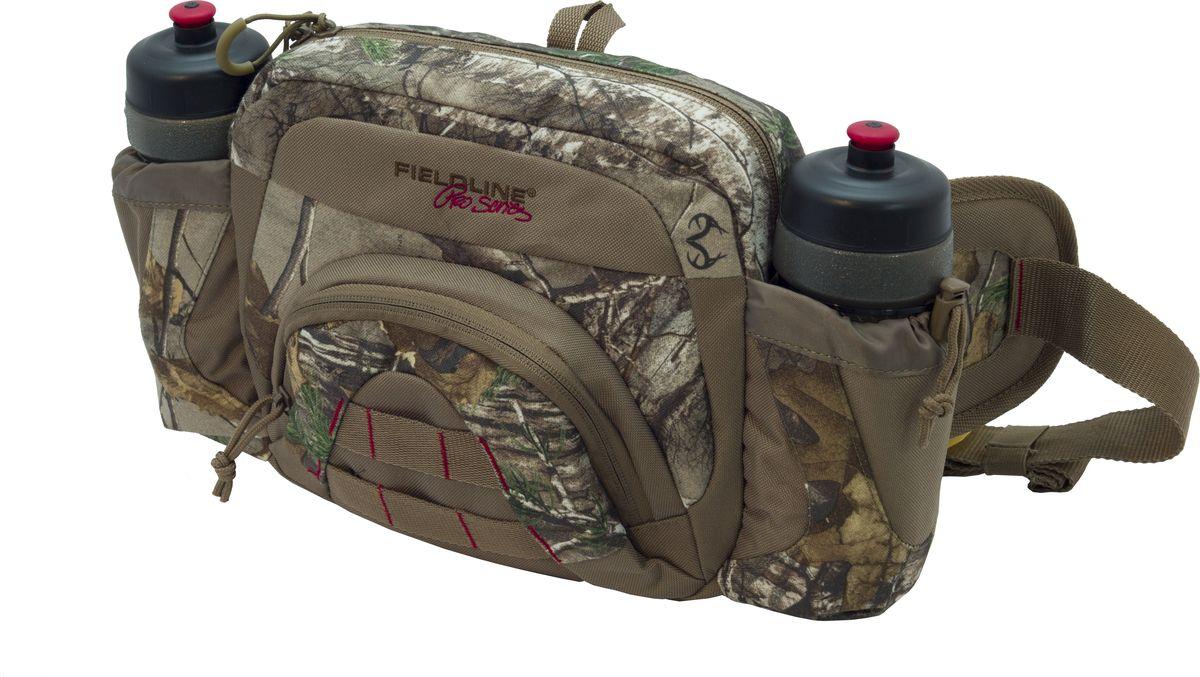 Сумка для охоты Fieldline H2O Field Waist Pack, поясная, цвет: камуфляж, светло-коричневый020968591280Поясная сумка H2O Field Waist Pack 21.6 cm x25.4 cm x 8.9 cm DQC49H2O Field Waist Pack Поясной сумка-органайзер выполненная из камуфлированной, малошуршащей ткани. Размеры : 21.6 cm x25.4 cm x 8.9 cmДва больших отделения на молнии, два боковых кармана с фляжками (0,6 л) для воды. Фронтальная панель с компрессионными ремнями и патронташом на 6 патрон.