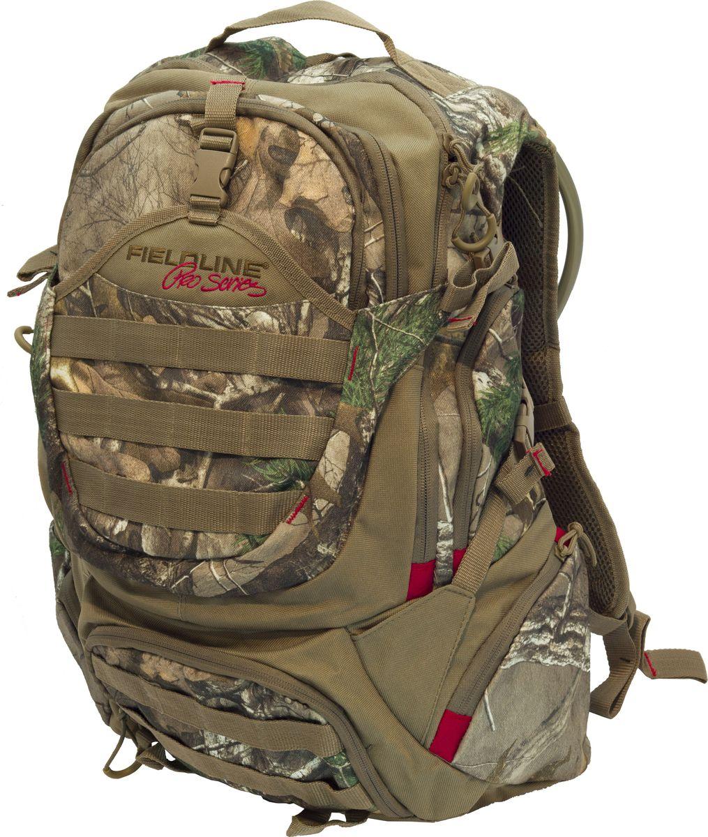 """Рюкзак для охоты Fieldline Ultimate Hunters 2 Day Pack, цвет: камуфляж, светло-коричневый020968591167Рюкзак Ultimate Hunters 2 Day Pack 52x37x15cm FCB005FLPРазмеры: 52 cm x 37 cm x 15 cm Камуфлированный рюкзак для 1-2 дневных охотничьих маршрутов, выполненный из прочной, мало шуршащей ткани .Встроенный легкий алюминиевый каркас""""Y образные плечевые ремни с центральной регулировочной поперечной утяжкой Большой основной отсек с молнией – возможность расстегивания молнии на ? длины. Вместительный дополнительный отсек Двухлитровая питьевая система Специальное внешнее фронтальное отделение для хранения снаряжения «быстрого доступа»Верхний центральный карман с внутренним карманом из сетки на молнии 4 боковых кармана на молнииНижний карман на молнии с органайзером Бесшумные пулеры на молниях. Фронтальная стропы для крепления дополнительного снаряжения в том числе и по стандарту MOLLE (Modular Lightweight Load-carrying Equipment) 4 компрессионные стропы для распределения нагрузки и крепления дополнительного груза"""