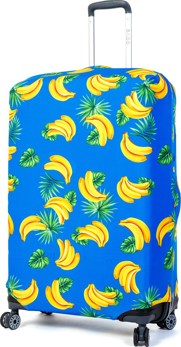 Чехол для чемодана Mettle Banana, размер L (высота чемодана: 75-82 см)LK-21000040Модный универсальный чехол для чемодана METTLE, подходит для больших чемоданов размера L и даже XL (высота: 75-82 см, ширина: 46-54 см, глубина: 29-36 см). Он выполнен из спандекса. Эластичная ткань со специальной UF-водоотталкивающей пропиткой лучше защитит ваш чемодан от грязи и солнечных лучей. Картинка чехла надолго останется яркой и красочной. Две боковые потайные молнии, усиленные дополнительными швами, предохраняют боковые стороны и ручки чемодана от царапин и легких повреждений. Резинка с удобной соединяющей застёжкой надёжно фиксирует чехол на чемодане. Нижняя молния имеет автоматический замок бегунка. В швы багажного чехла дополнительно вшит эластичный жгут для лучшей усадки и фиксации на чемодан. Вся фурнитура изготовлена в фирменном дизайне METTLE.Чехол упакован в функциональный мешочек из аналогичной ткани, который вы сможете использовать для хранения и переноски предметов небольшого размера.