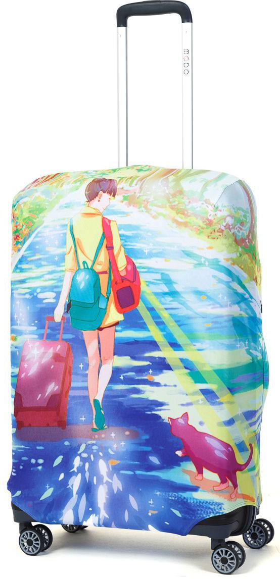 Чехол для чемодана Mettle Dream Of Road, размер M (высота чемодана: 65-75 см)LK-21000057Модный универсальный чехол для чемодана от компании METTLE, подходит для средних чемоданов размера М (высота: 65-75СМ, ширина: 40-46СМ, глубина: 25-32СМ). Эластичная ткань со специальной UF-водоотталкивающей пропиткой лучше защитит ваш чемодан от грязи и солнечных лучей. Картинка чехла надолго останется яркой и красочной. Две боковые потайные молнии, усиленные дополнительными швами, предохраняют боковые стороны и ручки чемодана от царапин и легких повреждений. Резинка с удобной соединяющей застёжкой надёжно фиксирует чехол на чемодане. Нижняя молния имеет автоматический замок бегунка. В швы багажного чехла дополнительно вшит эластичный жгут для лучшей усадки и фиксации на чемодан. Вся фурнитура изготовлена в фирменном дизайне METTLE.Дополнительно мы упаковали чехол для чемодана METTLE в функциональный мешочек из аналогичной ткани, который вы сможете использовать для хранения и переноски предметов небольшого размера. Забудьте об одноразовой багажной плёнке, чехол для чемодана METTLE