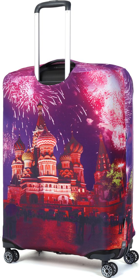 Чехол для чемодана Mettle Moscow, размер L (высота чемодана: 75-82 см)LK-21000082Модный универсальный чехол для чемодана от компании METTLE, подходит для больших чемоданов размера L и даже XL (высота: 75-82СМ, ширина: 46-54СМ, глубина: 29-36СМ). Эластичная ткань со специальной UF-водоотталкивающей пропиткой лучше защитит ваш чемодан от грязи и солнечных лучей. Картинка чехла надолго останется яркой и красочной. Две боковые потайные молнии, усиленные дополнительными швами, предохраняют боковые стороны и ручки чемодана от царапин и легких повреждений. Резинка с удобной соединяющей застёжкой надёжно фиксирует чехол на чемодане. Нижняя молния имеет автоматический замок бегунка. В швы багажного чехла дополнительно вшит эластичный жгут для лучшей усадки и фиксации на чемодан. Вся фурнитура изготовлена в фирменном дизайне METTLE. Дополнительно мы упаковали чехол для чемодана METTLE в функциональный мешочек из аналогичной ткани, который вы сможете использовать для хранения и переноски предметов небольшого размера. Забудьте об одноразовой багажной плёнке, чехол для чемод